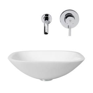 Vigo Square Shaped Stone Glass Vessel Sink in White Phoenix and Wall Mount Faucet Set in Chrome VGT218