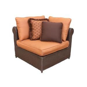 Hampton Bay Cibola Patio Sectional Corner Chair with Nutmeg Cushions FW HUNCACHF I2