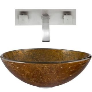 Vigo Glass Vessel Sink in Textured Copper and Titus Wall Mount Faucet Set in Brushed Nickel VGT339