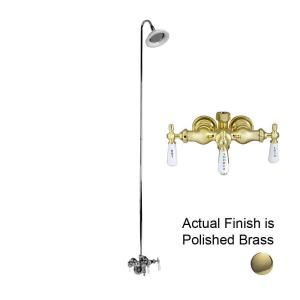 Pegasus 3 Handle Claw Foot Tub Diverter Faucet with Old Style Spigot and Sunflower Showerhead for Acrylic Tub in Polished Brass 4011 PL PB