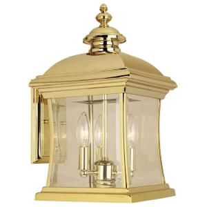 Hampton Bay Wall Mount 3 Light Outdoor Polished Brass Lantern DISCONTINUED HD174046