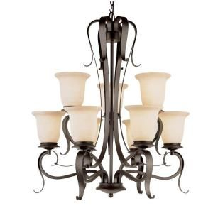 Filament Design Cabernet Collection 9 Light Black Chandelier with Champagne Frost Shade DISCONTINUED CLI WUP588621