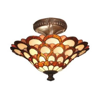 Dale Tiffany 15 in. x 11 in. Peacock Semi Flush Mount TH70118