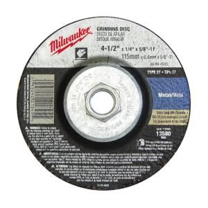 Milwaukee 4 1/2 in. x 1/8 in. x 5/8 11 in. Grinding Wheel (Type 27) 49 94 4525