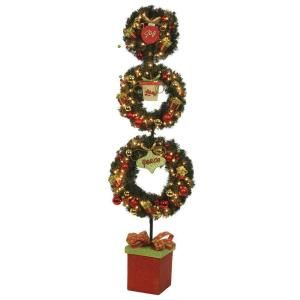Home Accents Holiday 6 ft. Pre Lit 3 Wreath Christmas Topiary with Poinsettias, Ornaments, and Gifts  DISCONTINUED 1758784