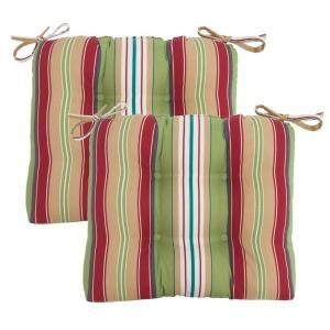 Hampton Bay Lancaster Stripe Tufted Outdoor Seat Pad (2 Pack) 7200 02001200