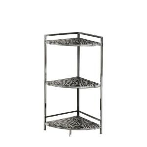 30 in. H Chrome Metal Accent Table with Zebra Tempered Glass I 3126