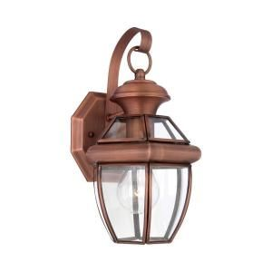 Filament Design 12 in. Outdoor Antique Brass Wall Mount Light with Clear Glass Shade CLI GH8048122