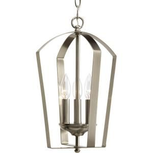 Progress Lighting Gather Collection 3 Light Brushed Nickel Foyer Pendant P3928 09