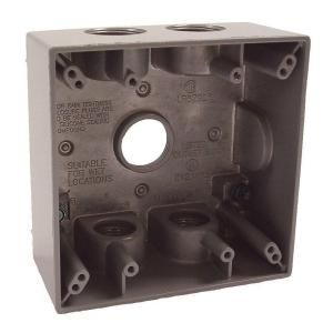 Bell 2 Gang (5) 3/4 in. Hole Electrical Box   Gray 5345 0B