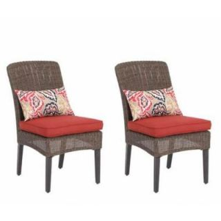 Hampton Bay Walnut Creek Patio Dining Chair with Red Cushion (2 Pack) DISCONTINUED FRS10013 Red