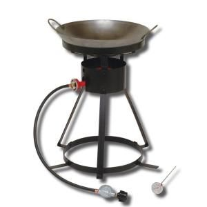 King Kooker 54,000 BTU Bolt Together Portable Propane Gas Outdoor Cooker with Special Recessed Wok Ring and 18 in. Steel Wok 24 WC