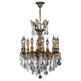 Worldwide Lighting Versailles Collection 10 Light Antique Bronze Chandelier with Clear Crystal Shade W83335B19