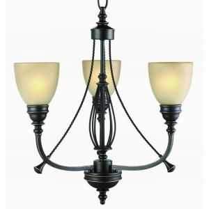 Commercial Electric 3 Light Bronze Chandelier RB063 P3