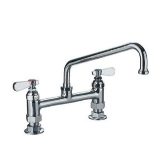 Whitehaus 2 Handle Heavy Duty Utility Bridge Faucet in Polished Chrome WHFS9813 12 C
