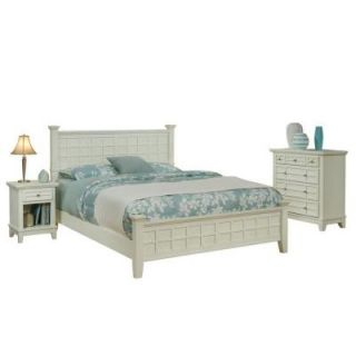Home Styles Arts and Crafts White Queen Bed with 2 Nightstands and Chest 5182 5020