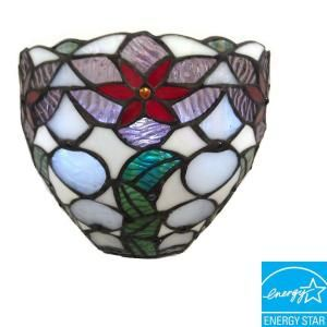 Its Exciting Lighting Wall Mount Stained Glass Poinsettia Festive Bowl Battery Operated 3 LED Wall Sconce AMB1009