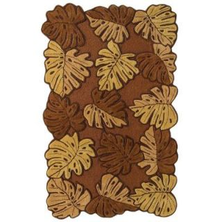 Direct Home Textiles Tropical Leaves Oak 3 ft. 4 in. x 5 ft. 4 in. Area Rug 52HM531OAK40X64