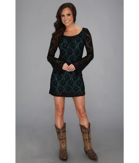Rock and Roll Cowgirl Long Sleeve Lace Dress Womens Dress (Blue)