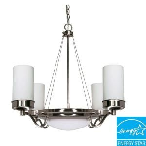 Green Matters Polaris 6 Light Hanging Brushed Nickel Chandelier with White Shades HD 490