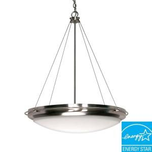 Glomar Polaris 3 Light Hanging Brushed Nickel Pendant with White Shade HD 493