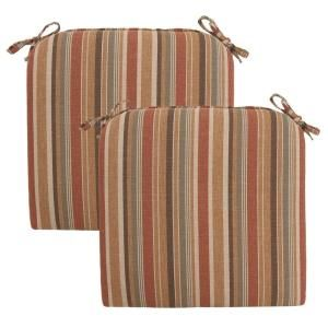 Hampton Bay Cayenne Stripe Deluxe Outdoor Chair Cushion (2 Pack) 7399 02003600