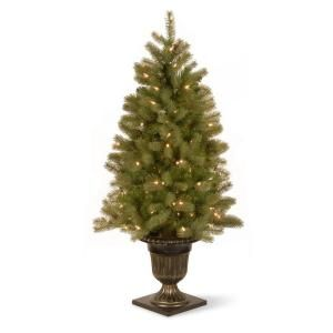 Home Accents Holiday 4.5 ft. Pre Lit Artificial Down Swept Douglas Fir Christmas Tree with Clear Lights PEDD1 342 45