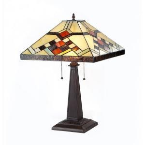 Chloe Lighting Calhoun 23 in. Tiffany Style Mission Bronze Table Lamp CH33265MS16 TL2