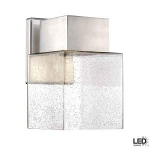 Hampton Bay Essex Collection Wall Mounted Outdoor Brushed Nickel LED Powered Lantern HB7054 35
