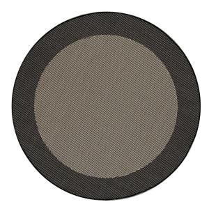 Direct Home Textiles Simple Border Black 8 ft. Indoor/Outdoor Round Area Rug DISCONTINUED 6776 9696 546