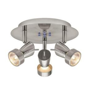 Hampton Bay 3 Light Brushed Nickel Ceiling Wall Round Fixture EC554SBA