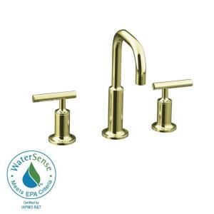 KOHLER Purist 8 in. Widespread 2 Handle Low Arc Bathroom Faucet in Vibrant French Gold with Low Gooseneck Spout K 14406 4 AF