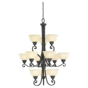 Sea Gull Lighting Serenity 12 Light Weathered Iron Multi Tier Chandelier 31193 07