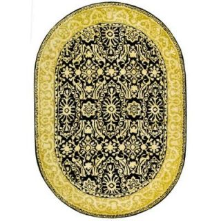 Safavieh Silk Road Black and Ivory 4 ft. 6 in. x 6 ft. 6 in. Oval Area Rug SKR213B 5OV