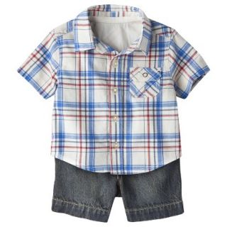 Genuine Kids from OshKosh Boys Plaid Top and Denim Bottom Set   Cream/Blue 24 M