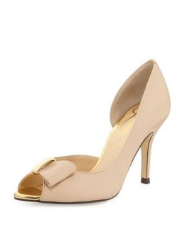 Dallus Leather Peep Toe Bow Pump, Nude