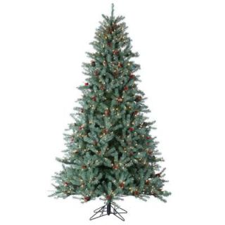 Sterling, Inc. 7.5 ft. Pre Lit Diamond Fir Artificial Christmas Tree with Pinecones, Red Berries, and Clear Lights 5739 75C