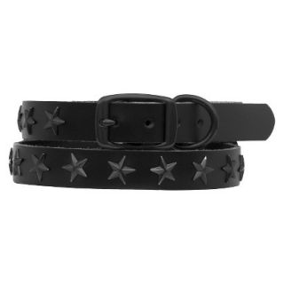 Platinum Pets Black Genuine Leather Dog Collar with Stars   Black (11   15)