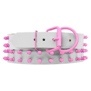 Platinum Pets White Genuine Leather Dog Collar with Spikes   Pink (20 24)
