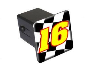 "16 Number Checkered Flag   Racing   2"" Tow Trailer Hitch Cover Plug Insert Automotive"