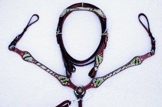 Genuine Leather Cowhide Green Zebra Print Hair On Rhinestone Bridle/Headstall,Breastcollar and Reins Set Horse Tack