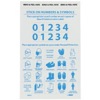 "NMC HM41 Right To Know Personal Protection Numbers and Symbols Label, 4"" Length x 6"" Height, Pressure Sensitive Vinyl, Blue on White (Pack of 10)"