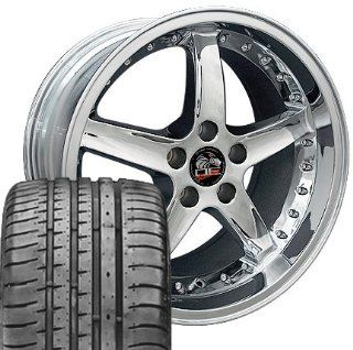 Cobra R Deep Dish Style Wheels and Tires with Rivets Fits Mustang (R)   Chrome 18x9/18x10 Set of 4 Automotive