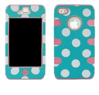 Apple iPhone 4 4s hybrid White Polka Dots on Blue Pink Gel Realtrees hunting camouflage high impact shock defender plastic outside with silicone inside 3 in1 2D hard case phone cover Cell Phones & Accessories