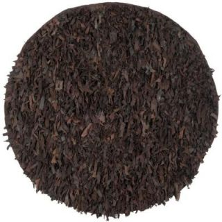 Safavieh Leather Shag Dark Brown 6 ft. x 6 ft. Round Area Rug LSG421D 6R