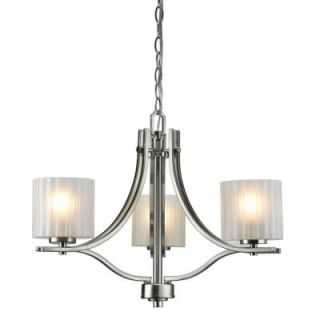 Hampton Bay Sheldon Collection 3 Light Brushed Nickel Chandelier ES1612SBA