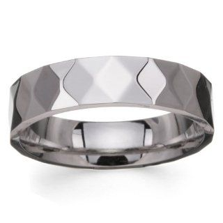 6mm 316L Stainless Steel High Polished Multiple Diamond Cut Faceted Designer Wedding Band Ring (Sizes 9 to 13) FF Jewelry Jewelry
