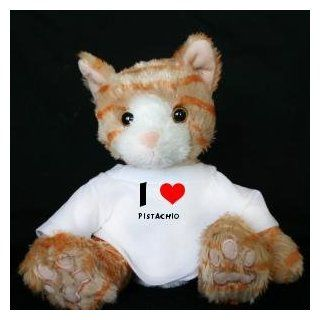 Plush Stuffed Brown Cat Toy with I Love Pistachio T Shirt (first name/surname/nickname) Toys & Games
