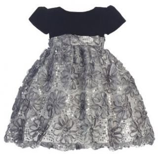 Lito Girls Velvet Floral Tulle Christmas Dress Lito Clothing