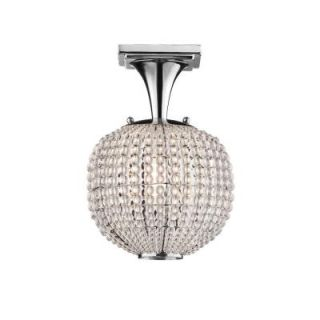 Hampton Bay Bellefont 1 Light Polished Nickel Crystal Ball Semi Flush Mount 18123 000